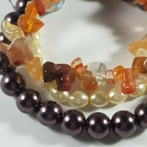 Unbranded Jewelry - Set Of 3 Stretch Bracelets Stone Chips Faux Pearls